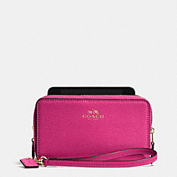 DOUBLE ZIP PHONE WALLET IN CROSSGRAIN LEATHER - IMCBY - COACH F53141