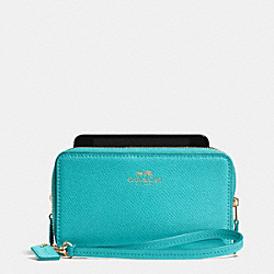 COACH DOUBLE ZIP PHONE WALLET IN CROSSGRAIN LEATHER - LIGHT GOLD/CADET BLUE - F53141