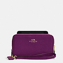 DOUBLE ZIP PHONE WALLET IN CROSSGRAIN LEATHER - IMITATION GOLD/PLUM - COACH F53141