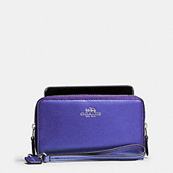 COACH DOUBLE ZIP PHONE WALLET IN CROSSGRAIN LEATHER - SILVER/METALLIC PURPLE IRIS - F53141