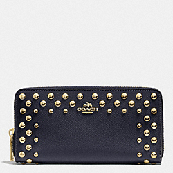 COACH ACCORDION ZIP WALLET IN STUDDED CROSSGRAIN LEATHER - LIGHT GOLD/MIDNIGHT - F53145