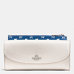 COACH BADLANDS FLORAL POP SLIM ENVELOPE IN CROSSGRAIN LEATHER - SILVER/CHALK MULTI - F53154