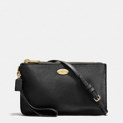 COACH LYLA DOUBLE GUSSET CROSSBODY IN PEBBLE LEATHER - LIGHT GOLD/BLACK - F53157