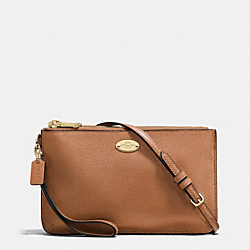 COACH LYLA DOUBLE GUSSET CROSSBODY IN PEBBLE LEATHER - IMITATION GOLD/SADDLE - F53157