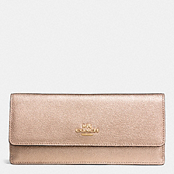 COACH SOFT WALLET IN METALLIC CROSSGRAIN LEATHER - ROSE GOLD/ROSE GOLD - F53173