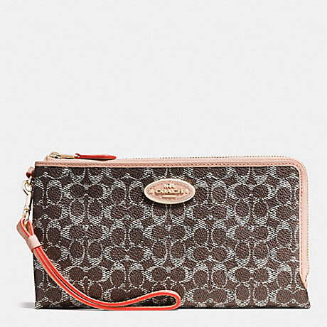 COACH DOUBLE ZIP WALLET IN SIGNATURE - LIGHTGOLD/SADDLE/APRICOT - f53175