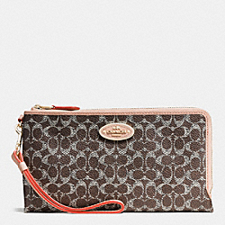 DOUBLE ZIP WALLET IN SIGNATURE - LIGHTGOLD/SADDLE/APRICOT - COACH F53175