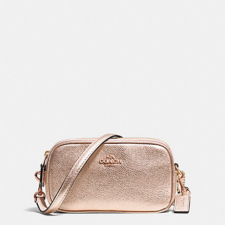 COACH CROSSBODY POUCH IN METALLIC CROSSGRAIN LEATHER - RE/ROSE GOLD - f53187