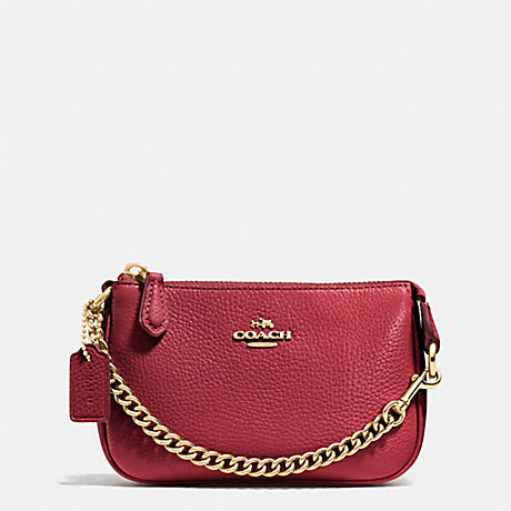 COACH NOLITA WRISTLET 15 IN PEBBLE LEATHER - LIGHT GOLD/BLACK CHERRY - f53193