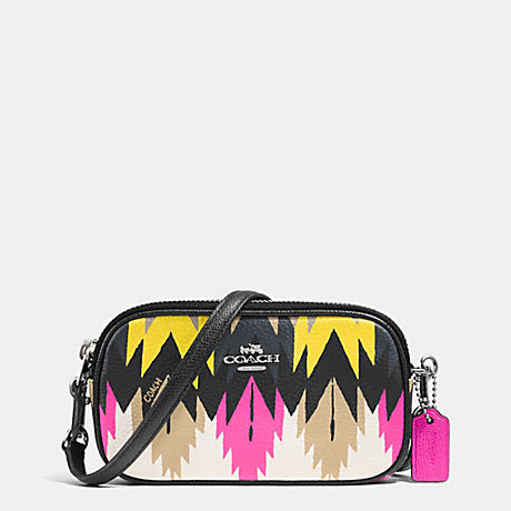 COACH CROSSBODY POUCH IN PRINTED CROSSGRAIN LEATHER - SILVER/HAWK FEATHER - f53198