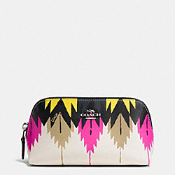COSMETIC CASE 17 IN PRINTED CROSSGRAIN LEATHER - SILVER/HAWK FEATHER - COACH F53216