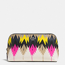 COACH COSMETIC CASE 22 IN PRINTED CROSSGRAIN LEATHER - SILVER/HAWK FEATHER - F53219