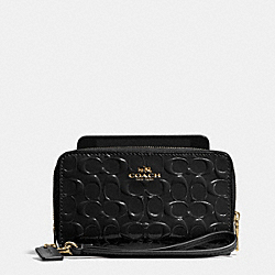 COACH DOUBLE ZIP PHONE WALLET IN SIGNATURE DEBOSSED PATENT LEATHER - LIGHT GOLD/BLACK - F53310