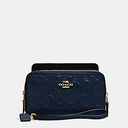 COACH DOUBLE ZIP PHONE WALLET IN SIGNATURE DEBOSSED PATENT LEATHER - IMITATION GOLD/MIDNIGHT - F53310