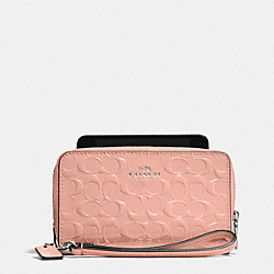 COACH DOUBLE ZIP PHONE WALLET IN SIGNATURE DEBOSSED PATENT LEATHER - SILVER/BLUSH - F53310