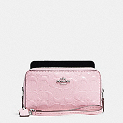 COACH DOUBLE ZIP PHONE WALLET IN SIGNATURE DEBOSSED PATENT LEATHER - SILVER/PETAL - F53310