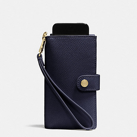 COACH PHONE CLUTCH IN CROSSGRAIN LEATHER -  LIGHT GOLD/MIDNIGHT - f53311