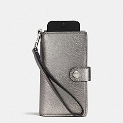 COACH PHONE CLUTCH IN CROSSGRAIN LEATHER - SILVER/PEWTER - F53311