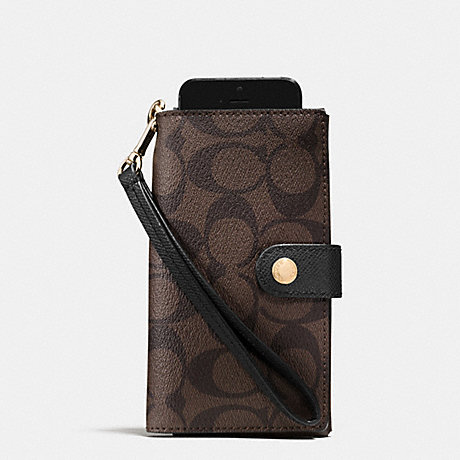 COACH PHONE CLUTCH IN SIGNATURE - LIGHT GOLD/BROWN/BLACK - f53312
