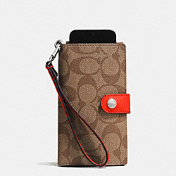 COACH PHONE CLUTCH IN SIGNATURE - SILVER/KHAKI/ORANGE - F53312