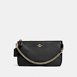 COACH LARGE WRISTLET 19 IN PEBBLE LEATHER - LIGHT GOLD/BLACK - F53340