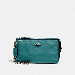 COACH F53340 - LARGE WRISTLET 19 IN PEBBLE LEATHER LIGHT GOLD/DARK TEAL