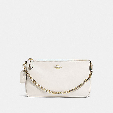 COACH f53340 LARGE WRISTLET 19 IN PEBBLE LEATHER LIGHT GOLD/CHALK