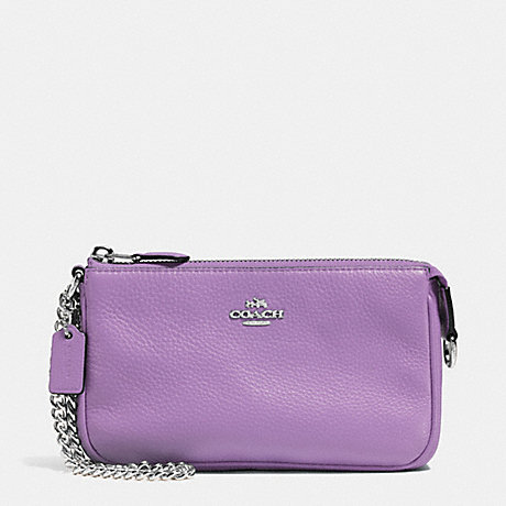 COACH LARGE WRISTLET 19 IN PEBBLE LEATHER - SILVER/LILAC - f53340