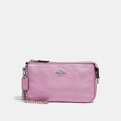 COACH f53340 LARGE WRISTLET 19 IN PEBBLE LEATHER SILVER/LILAC 2