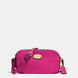 COACH CROSSBODY POUCH IN PEBBLE LEATHER - IMITATION GOLD/CRANBERRY - F53372