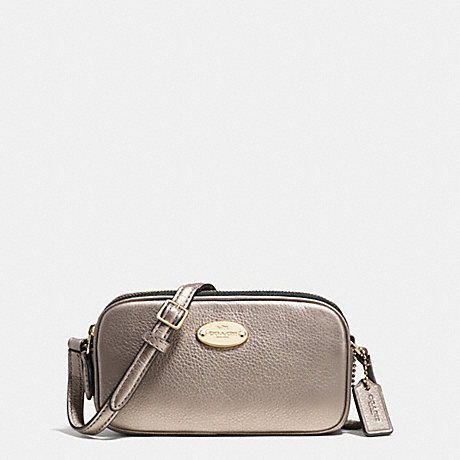 COACH f53372 CROSSBODY POUCH IN PEBBLE LEATHER LIGHT GOLD/METALLIC