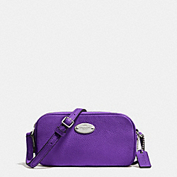 COACH CROSSBODY POUCH IN PEBBLE LEATHER - SILVER/PURPLE IRIS - F53372