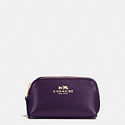 COACH COSMETIC CASE 9 IN CROSSGRAIN LEATHER - IMITATION GOLD/AUBERGINE - F53384