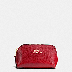 COACH COSMETIC CASE 9 IN CROSSGRAIN LEATHER - IMITATION GOLD/TRUE RED - F53384