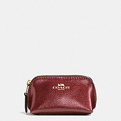 COSMETIC CASE 9 IN CROSSGRAIN LEATHER - f53384 - IMITATION GOLD/METALLIC CHERRY