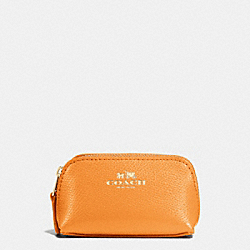 COACH COSMETIC CASE 9 IN CROSSGRAIN LEATHER - IMITATION GOLD/ORANGE PEEL - F53384