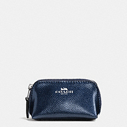 COACH COSMETIC CASE 9 IN CROSSGRAIN LEATHER - SILVER/METALLIC MIDNIGHT - F53384