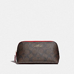 COSMETIC CASE 17 IN SIGNATURE CANVAS - BROWN/TRUE RED/IMITATION GOLD - COACH F53385