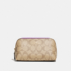 COSMETIC CASE 17 IN SIGNATURE CANVAS - LIGHT KHAKI/PRIMROSE/IMITATION GOLD - COACH F53385