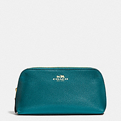 COACH COSMETIC CASE 17 IN CROSSGRAIN LEATHER - IMITATION GOLD/ATLANTIC - F53386