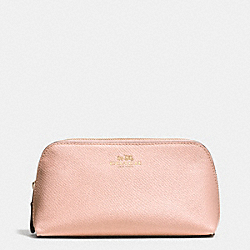 COACH COSMETIC CASE 17 IN CROSSGRAIN LEATHER - IMITATION GOLD/PEACH ROSE - F53386