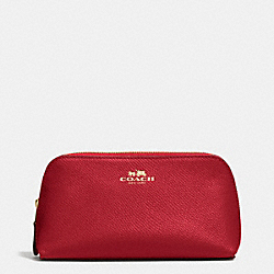 COACH COSMETIC CASE 17 IN CROSSGRAIN LEATHER - IMITATION GOLD/TRUE RED - F53386