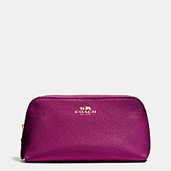 COSMETIC CASE 17 IN CROSSGRAIN LEATHER - IMITATION GOLD/FUCHSIA - COACH F53386
