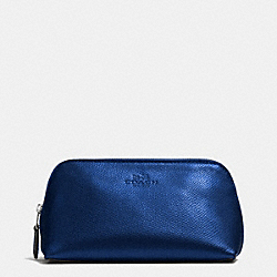 COACH COSMETIC CASE 17 IN CROSSGRAIN LEATHER - SILVER/METALLIC MIDNIGHT - F53386