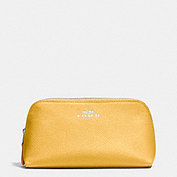 COACH COSMETIC CASE 17 IN CROSSGRAIN LEATHER - SILVER/CANARY - F53386