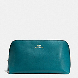 COACH COSMETIC CASE 22 IN CROSSGRAIN LEATHER - IMITATION GOLD/ATLANTIC - F53387