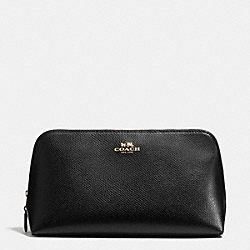 COACH COSMETIC CASE 22 IN CROSSGRAIN LEATHER - LIGHT GOLD/BLACK - F53387