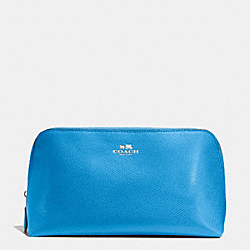 COACH COSMETIC CASE 22 IN CROSSGRAIN LEATHER - SILVER/AZURE - F53387