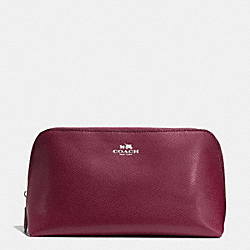 COACH COSMETIC CASE 22 IN CROSSGRAIN LEATHER - SILVER/BURGUNDY - F53387