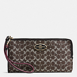 COACH L-ZIP WALLET IN EMBOSSED SIGNATURE CANVAS - LIGHT GOLD/SADDLE/BLACK - F53412